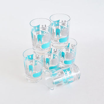 Awesome Atomic Juice Glasses Blue Gray Set of 6