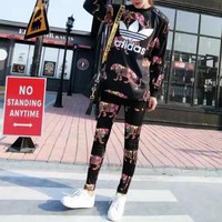 """Adidas"" Women Casual Cartoon Panther Pattern Print Long Sleeve Trousers Set Two-Piece Sportswear"