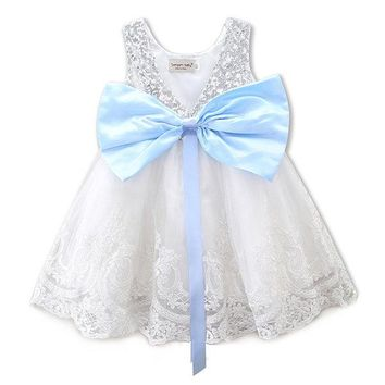 Princess Baby Girl Bowknot Lace Floral Christmas Party Dress