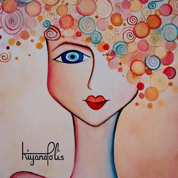 Portrait painting, abstract face painting, Persian art,  watercolour, Persian Gift, Norooz, Nowruz, Evil Eyes, made in Canada