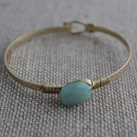 Dainty Stone Gold Bangle Bracelet-Mint