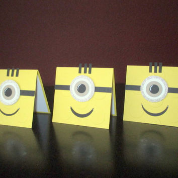 Minion Lego Brick Handmade Greeting Cards.Lego Birthday Gift Card.Minion Gift Tag.Minion Birthday Party.Minion Birthday Gift. Stampin Up.