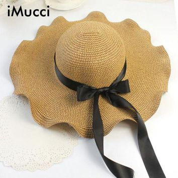 PEAP78W iMucci Women's  Sun Hat Fashion Women Wide Large Brim Floppy Summer Beach Straw Hat Big Bow Uv Protect Big Caps
