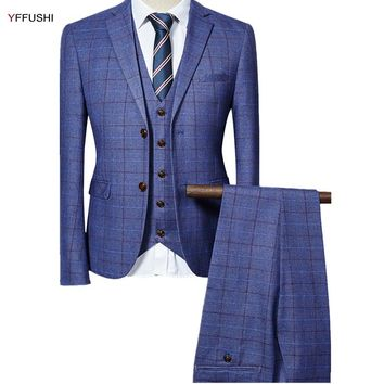 YFFUSHI 2017 Men Suit Men Grey Black Navy Classic Plaid Design Tuxedo Wedding Suits for Men England Style Slim Fit