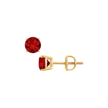 14K Yellow Gold Prong Set Created Ruby Stud Earrings 0.50 CT TGW