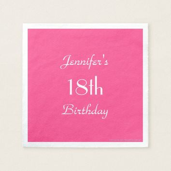 Hot Pink Paper Napkins, 18th Birthday Party Paper Napkin