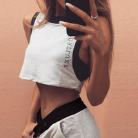 Letters printed sleeveless vest shorts sports suit