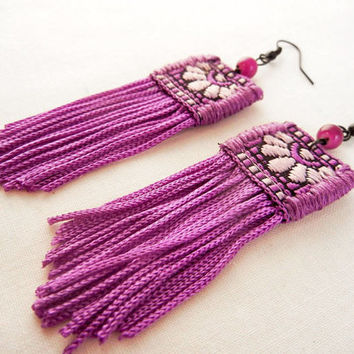 Vivid fringe earrings - bright purple textile fringe earrings - fabric statement earrings