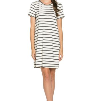 All About Stripes Dress Charcoal