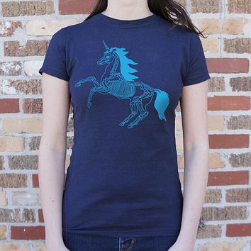 Ladies Unicorn Skeleton T-Shirt