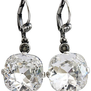 Catherine Popesco Silvertone Crystal Round Earrings, Clear Crystal 6556