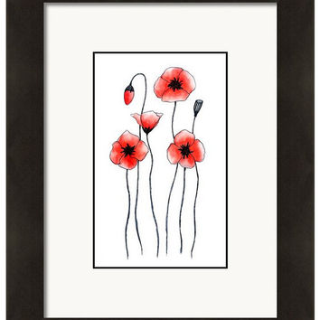 Watercolor Poppy Print, Decorative Wall Decor, Floral Wall Art, Red Poppies, Giclee Print