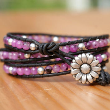 Leather wrap bracelet, Quartz triple wrap, pink, fuchsia, black, jet, purple, silver flower, Bohemian trendy jewelry, hipster, gift idea