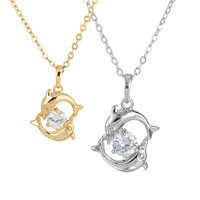 Beautuful Women Double Dolphins Shape Plating Chain Round Crystal Cubic Zirconia Pendant Necklace Lady Girl Gift 2 color