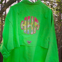 Men's Columbia Fishing Shirt with Lilly Pulitzer Monogram
