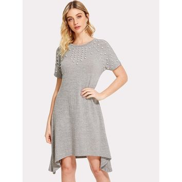 Pearl Embellished Asymmetrical Hem Dress