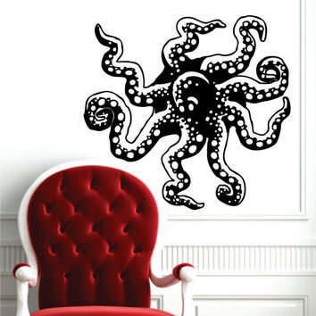 Octopus Coming out of Wall Design Animal Decal Sticker Wall Vinyl Decor Art