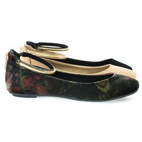 Chantel40M By Bamboo, Round Toe Dress Flat w Oriental/Russian Print, Metal Ankle Strap. Flat Shoe