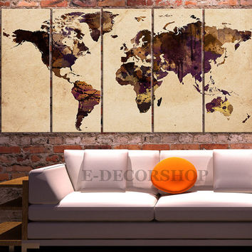 Canvas Print Old Paper on WORLD MAP Art Drawing - Watercolor World Map 5 PANEL Canvas Art Print - Ready to Hang - Colorful World Map