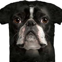 The Mountain Men's Boston Terrier Face T-Shirt, Black, Small