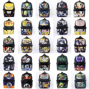 Anime Pocket Monster/One Punch Man/Tokyo Ghoul/Zelda/LoveLive/Black Butler Waterproof Laptop Backpack/Double-Shoulder/School Bag