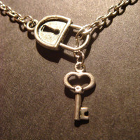 SteampunkLock and Key Lariat Style Necklace in by CreepyCreationz
