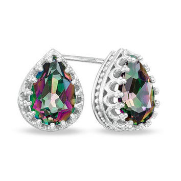 Pear-Shaped Rainbow Quartz Crown Earrings in Sterling Silver - Save on Select Styles - Zales