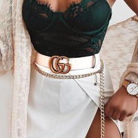 GUCCI Trending Popular Women Men Cool GG Letter Smooth Buckle Leather Belt White