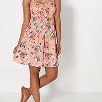 Floral Peach Smocked Sundress