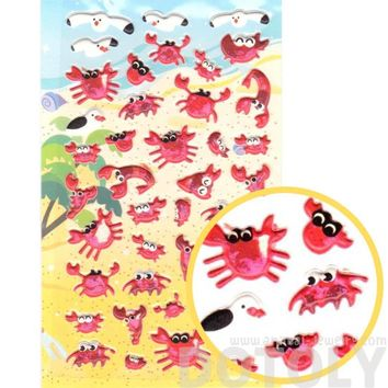 Crab and Seagulls Shaped Animal Themed Puffy Stickers for Scrapbooking