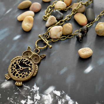 A-097 Antique bronze owl necklace, Clock necklace, Chunky necklace, Simple necklace, Modern necklace/Bridesmaid/gifts/Everyday jewelry/