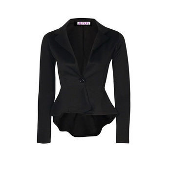Women's One Button Slim Casual Turn-down Collar Long Sleeve Business Office Blazer Solid Irregular Hem Suit Jacket Coat Outwear