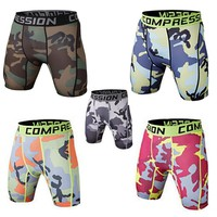 Fashion Brand Men Slim Strench Sporting Shorts Male Army Camo Sweat absorbed Ridding Shorts Quick Dry Compression fitness short