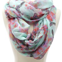HUMMINGBIRD & FLORAL PRINT INFINITY SCARF