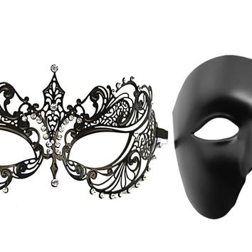 2 Pack Masquerade Mask Laser-Cut Metal Crystal Costume Mask With Phantom Of The Opera Mask For Lovers