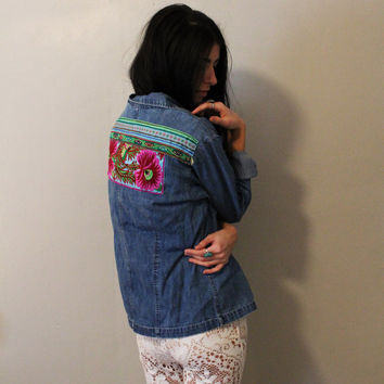 Purple Floral Embroidered Denim Shirt.