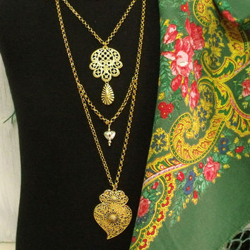 Portuguese Viana heart folk jewelry necklace filigree Portugal art filigree heart pendant oversize necklace