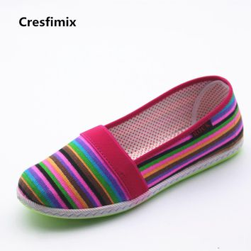 Cresfimix zapatos de mujer women fashion spring & summer flat shoes female casual striped flats lady soft & comfortable shoes