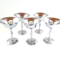 Vintage Chrome Sherbet Dessert Cups by Farber Brothers