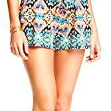 Socialite Women's Neon Abstract Print Spaghetti Straps Knit Shorts Romper, Size Large