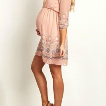 Pink Geometric Print Round Neck Long Sleeve Casual Maternity Mini Dress