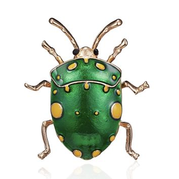 Green Enamel Beetle Brooch Pin