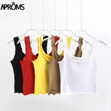 Aproms Candy Color Frills Basic Tank Tops Female Streetwear Fashion 2017 Crop Top Summer Outfits Camis Tops for Women Clothing