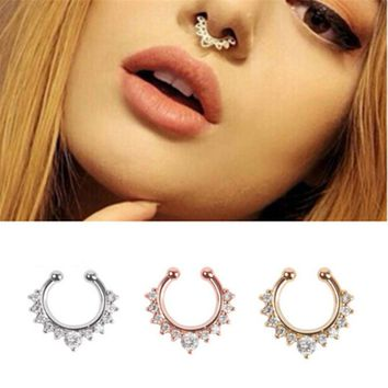 Titanium Piercing Nombril Luxury Rudder Nose Stud Clip Fake Septum Piercing False nose ring earring chain kit Bisuteria Mujer