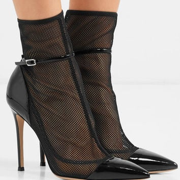 Gianvito Rossi - 100 mesh and patent-leather ankle boots