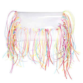 Clear purse transparent pouch harajuku totes tassles envelope colorfull fringe bag boho bags clear clutch transparent envelope bag tassels
