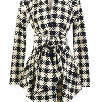Casual Appealing  Houndstooth  Printed Trench-coats