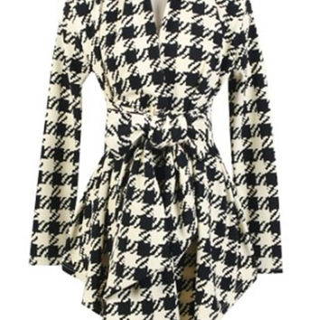 Streetstyle  Casual Appealing  Houndstooth  Printed Trench-coats