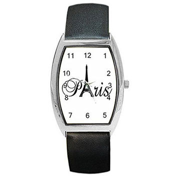 "Paris "" Eiffel Tower"" on a Girls or Womens Barrel Watch with Leather Band"