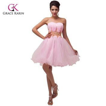 Grace Karin Blue/Pink Short Prom Dresses 2017 Voile Ball Gown robe Cocktail Back to School Homecoming Party Dress vestidos 4972